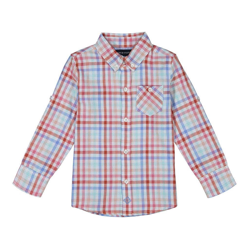 Boys Coral Plaid Button Down Shirt - Andy & Evan