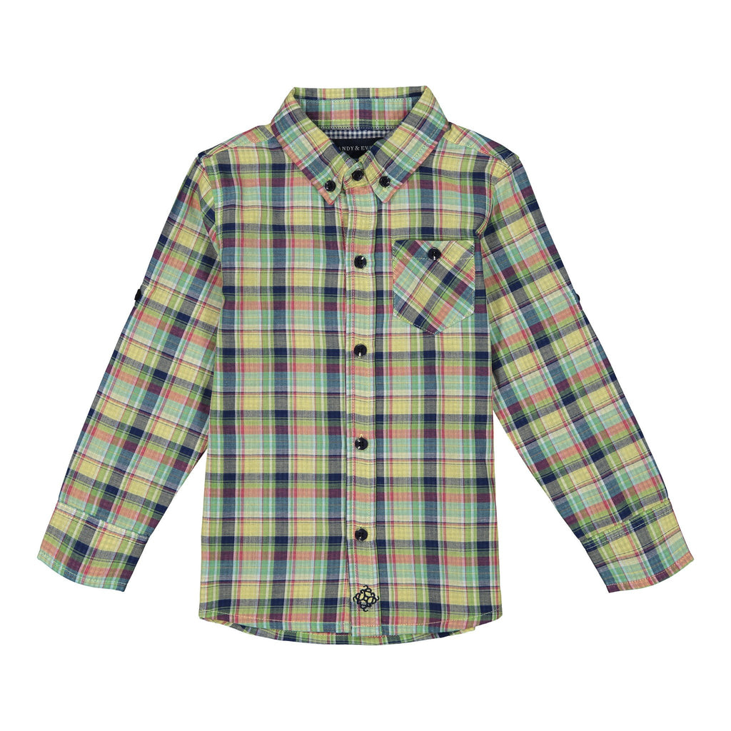 Boys Yellow & Green Madras Plaid Down Shirt - Andy & Evan