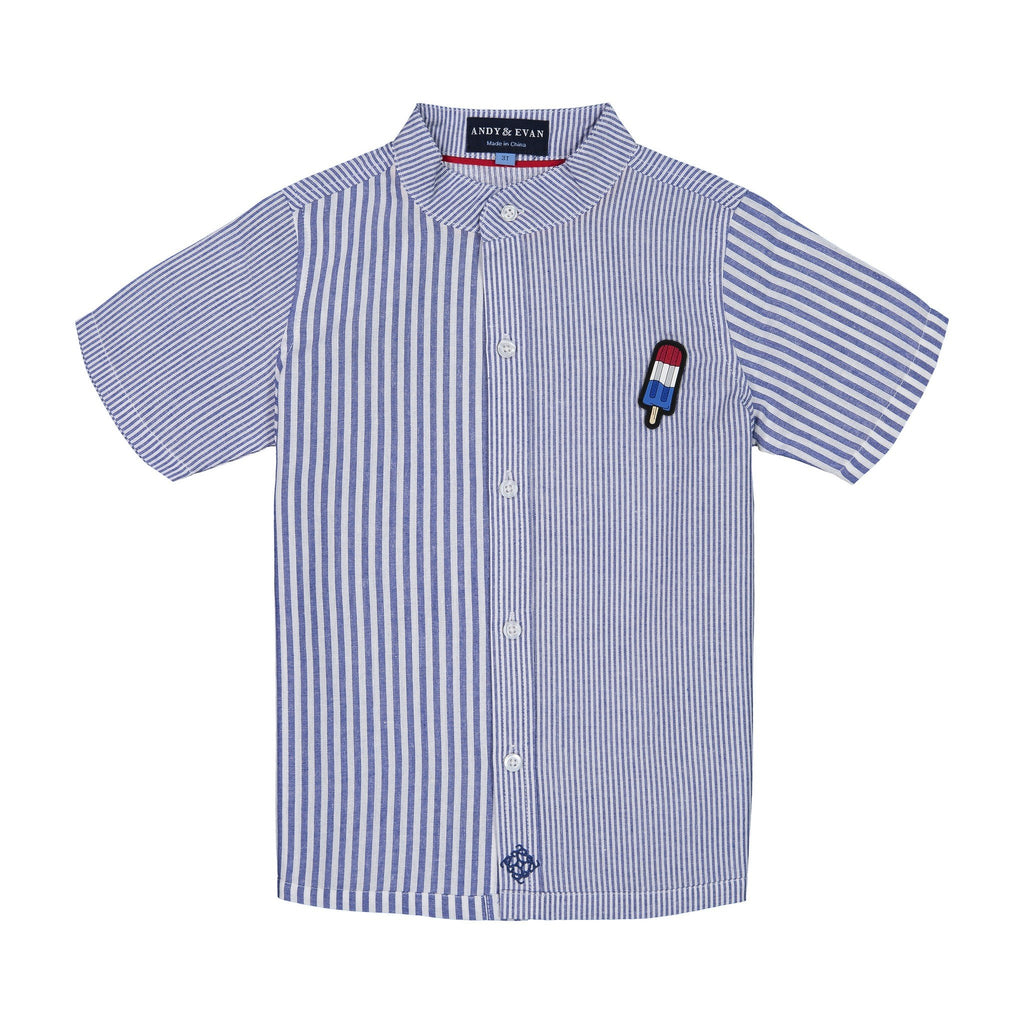 Boys Multi-Striped Knit Button Down with Popsicle Patch - Andy & Evan