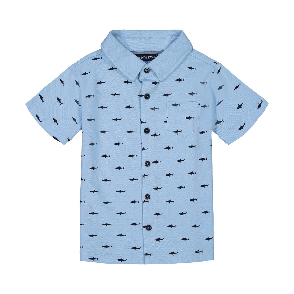 Boy's Knit Shark Button Down - Andy & Evan