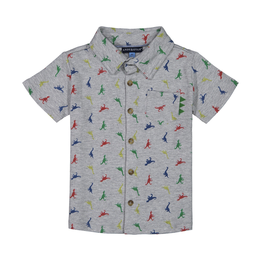 Boy's Grey Knit Dinosaur Print Button Down - Andy & Evan