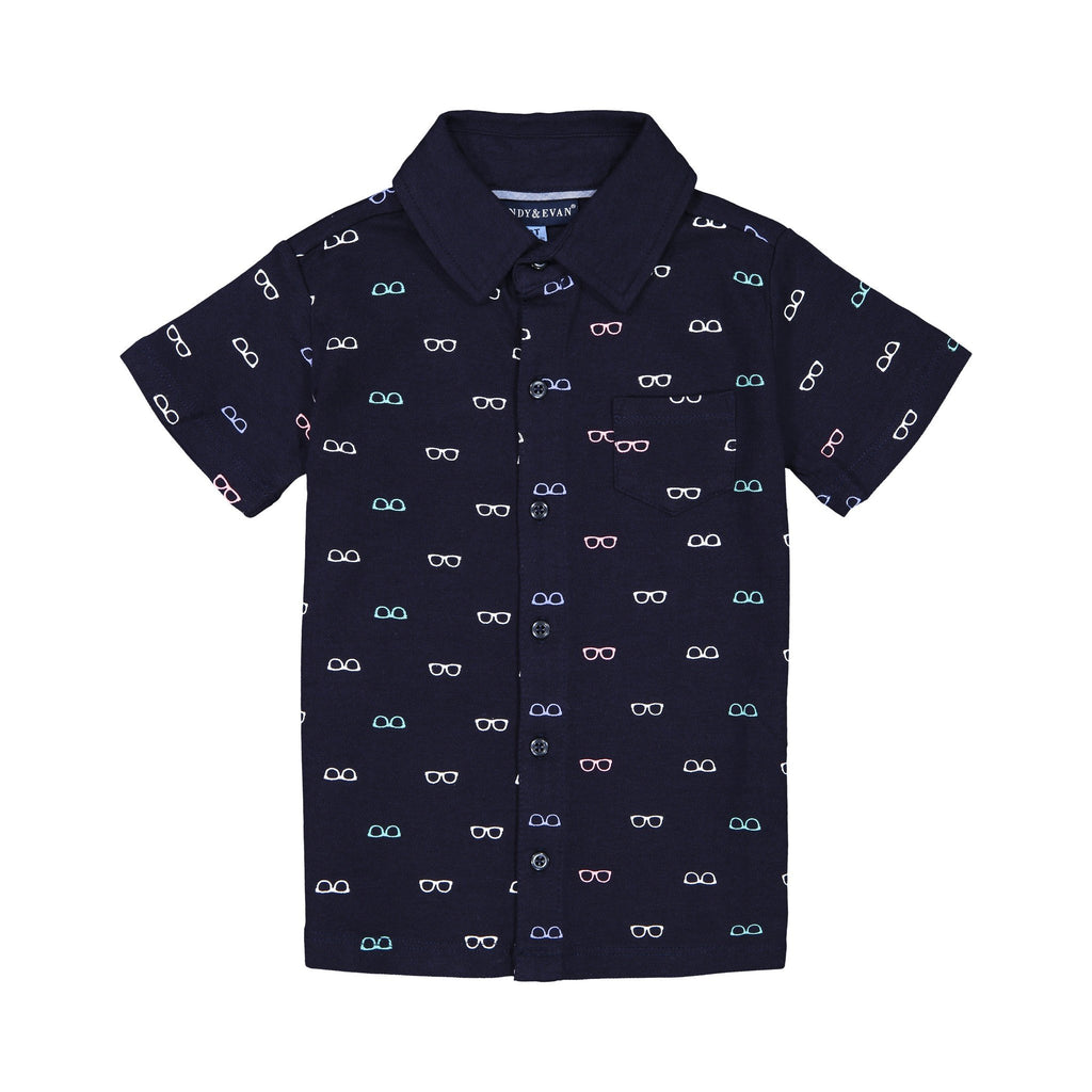 "Boy's Navy ""Shades"" Knit Button Down Shirt - Andy & Evan"