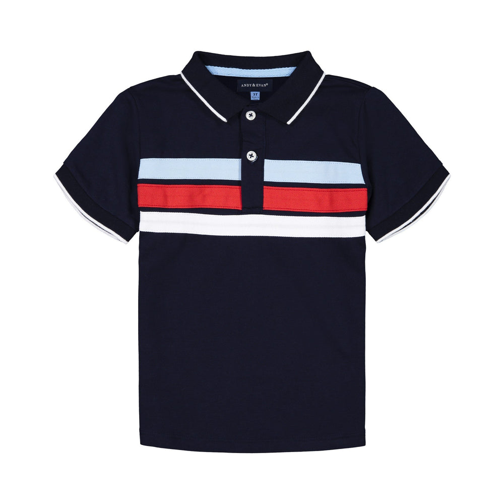 Boys Navy Colorblocked Polo - Andy & Evan