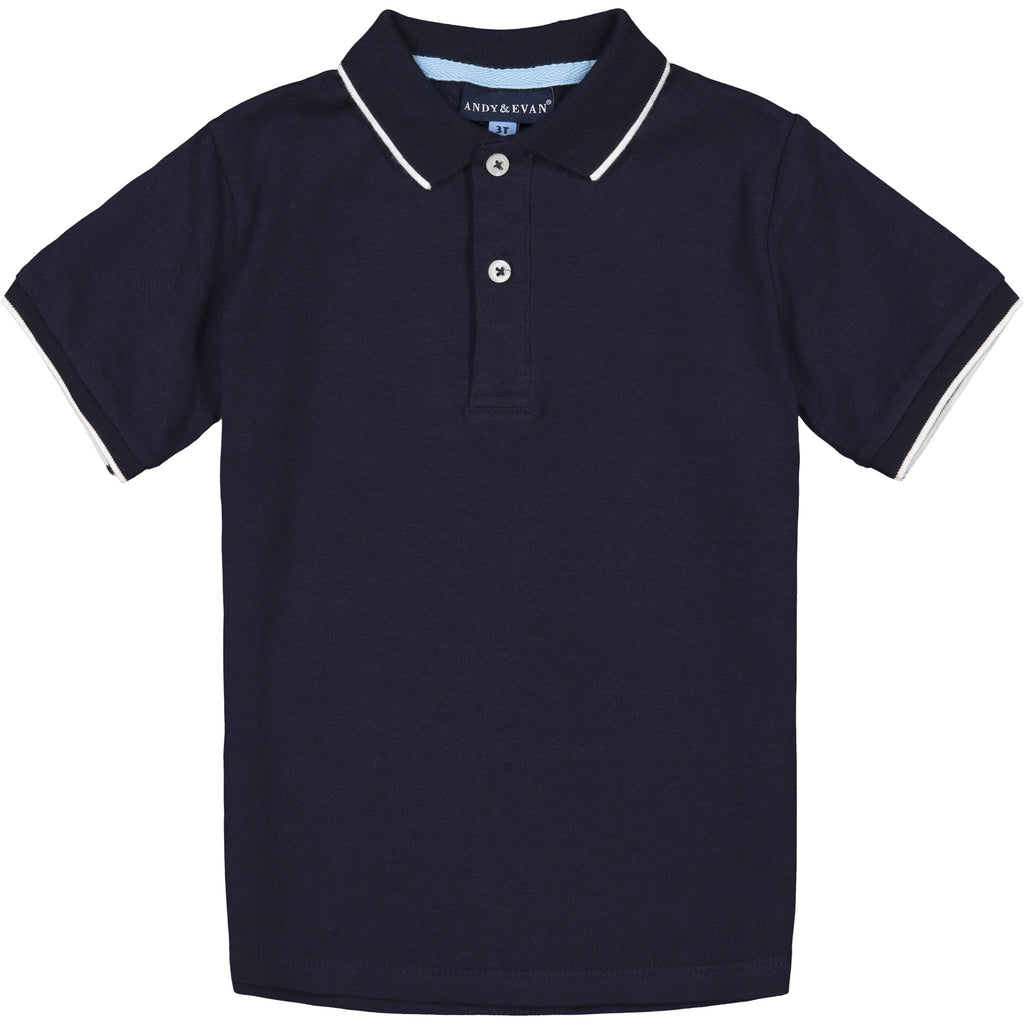 Boys Navy Pique Polo - Andy & Evan