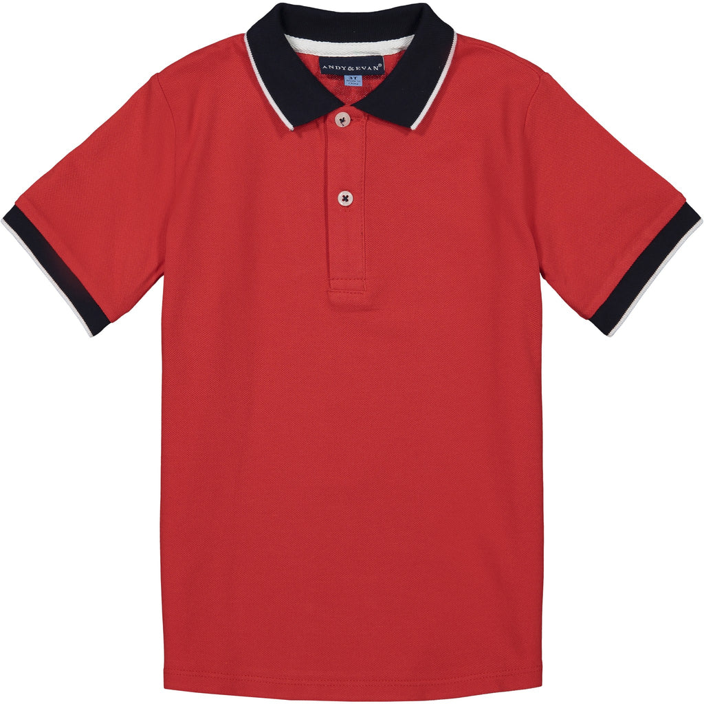 Boys Red Pique Polo - Andy & Evan