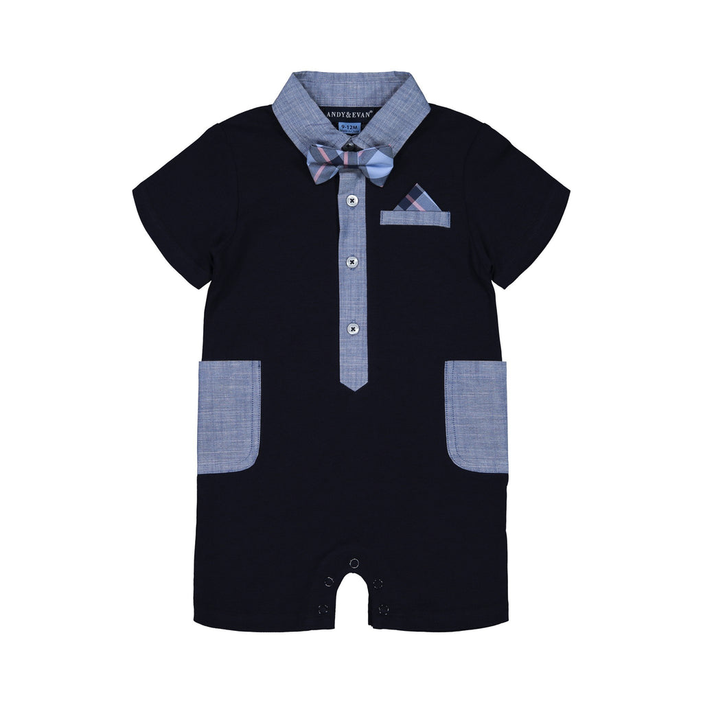 Baby Boys Navy Romper with Chambray Details - Andy & Evan