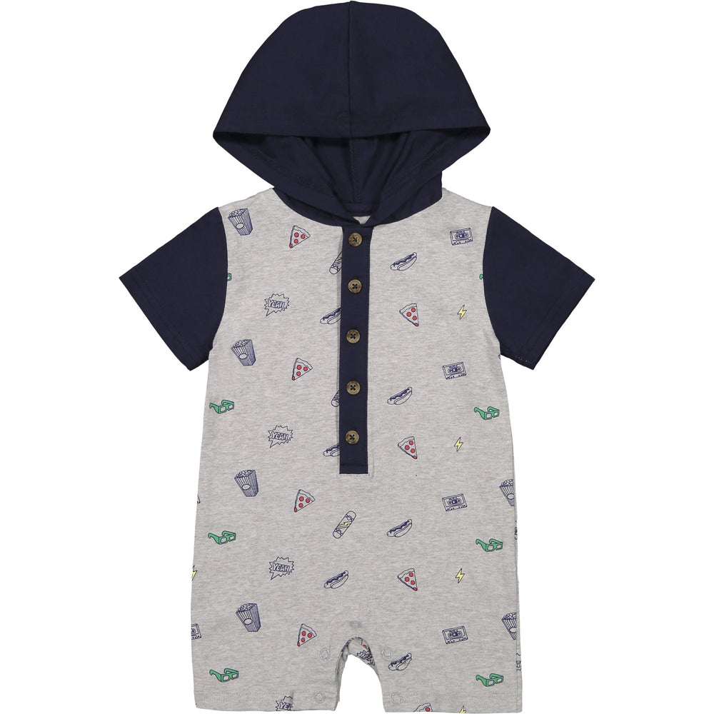 Baby Boys Pizza Print Hooded Romper - Andy & Evan