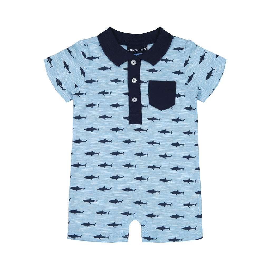 Baby Boys Shark Polo Romper - Andy & Evan