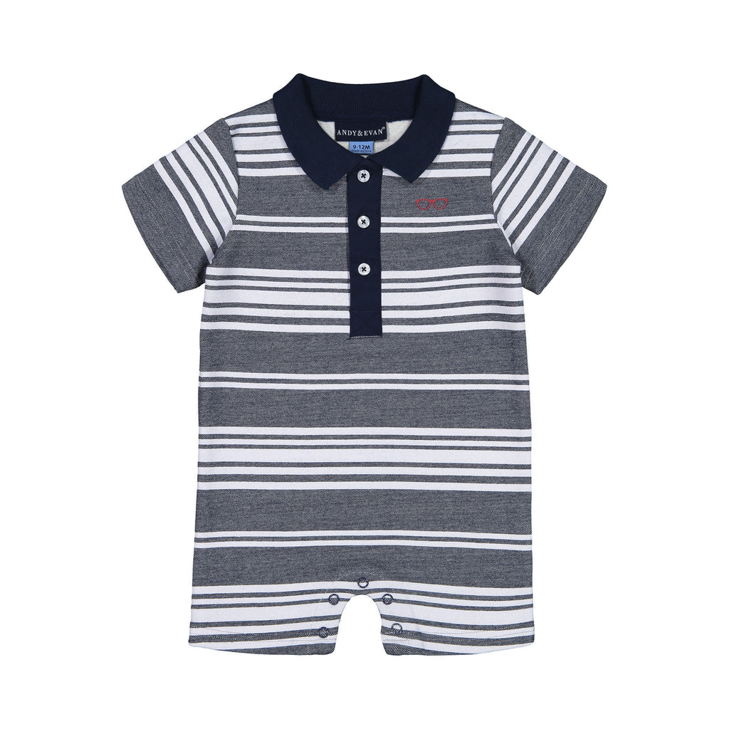 Baby Boys Blue Stripe Polo Romper - Andy & Evan