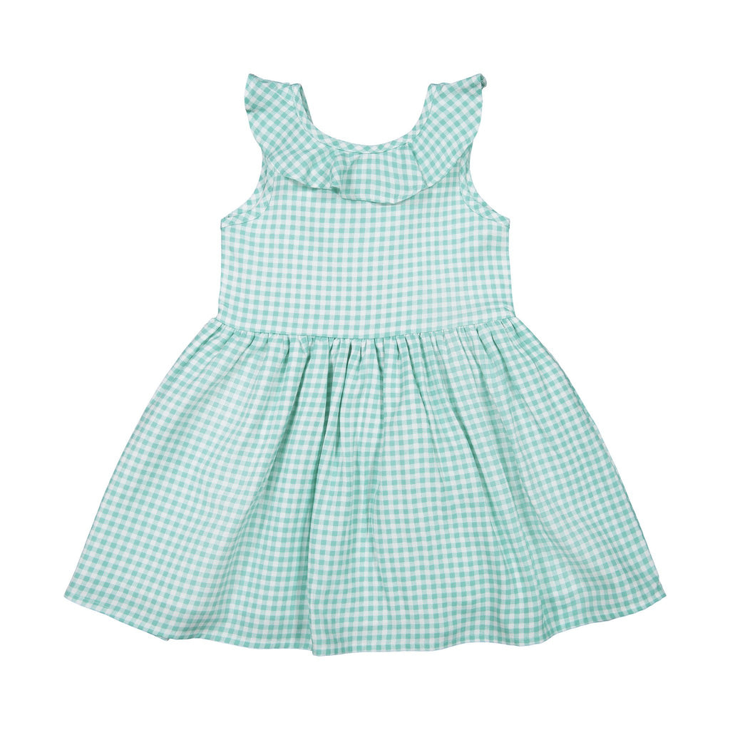 Girls Green Gingham Dress - Andy & Evan