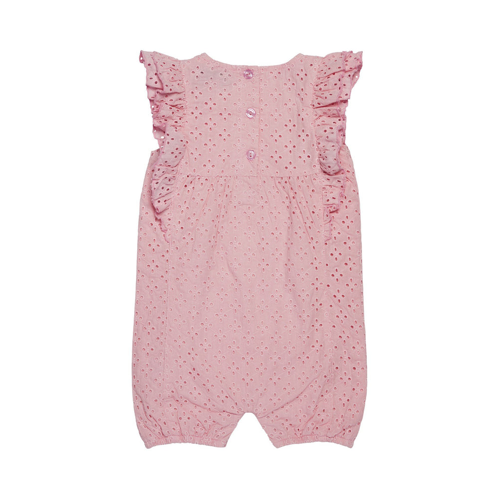 Baby Girl Pink Eyelet Bubble Romper - Andy & Evan
