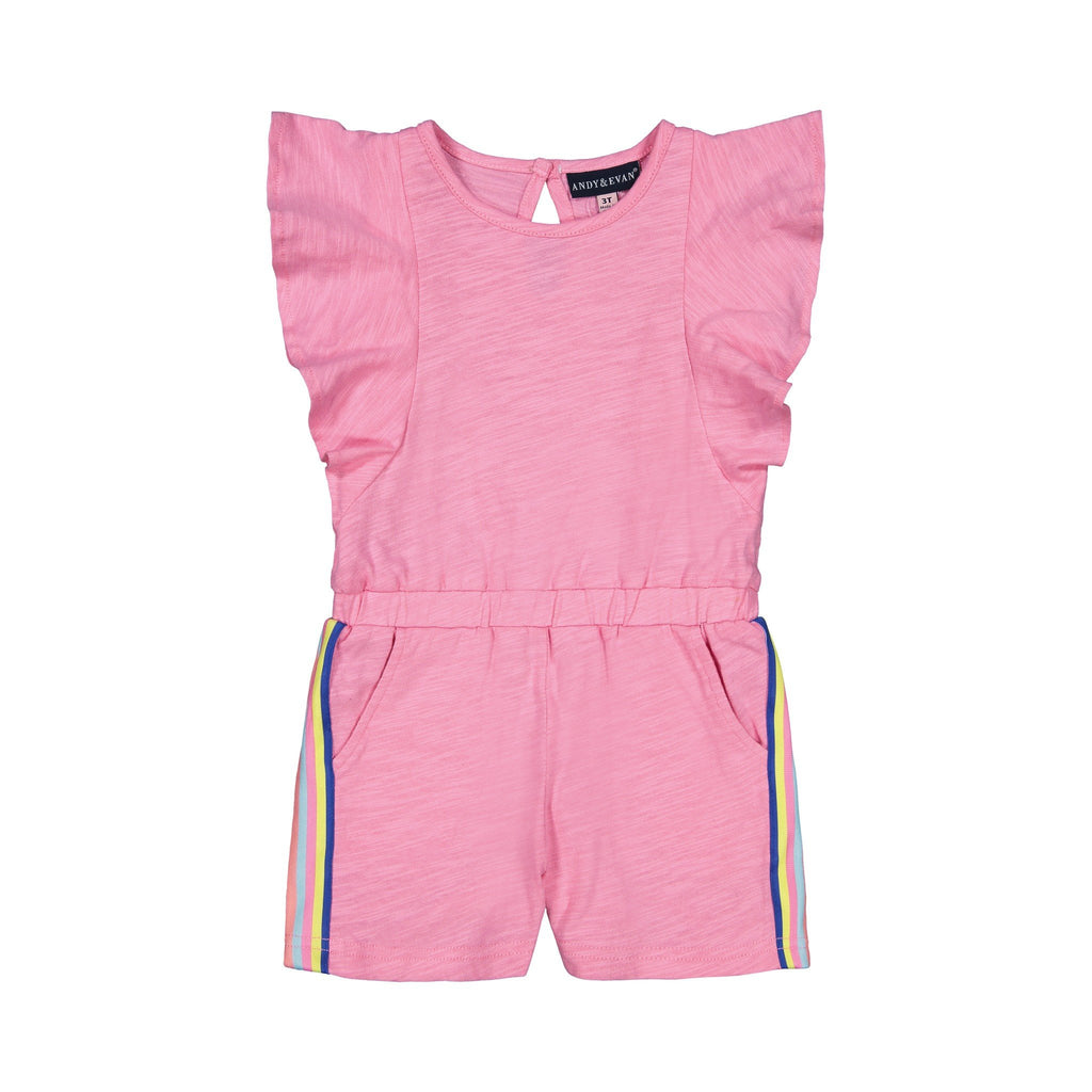 Girls Pink Flutter Romper - Andy & Evan