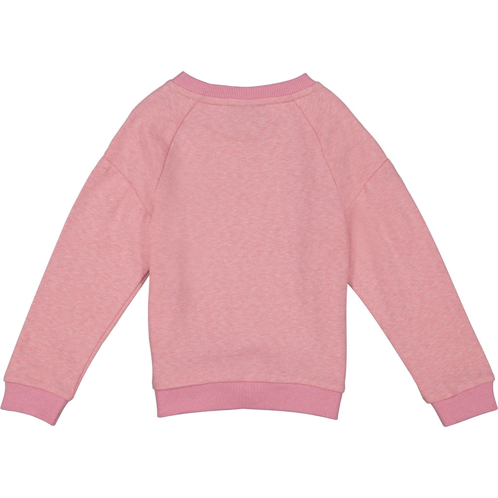 Girl's Pink Marled French Terry Sweatshirt - Andy & Evan