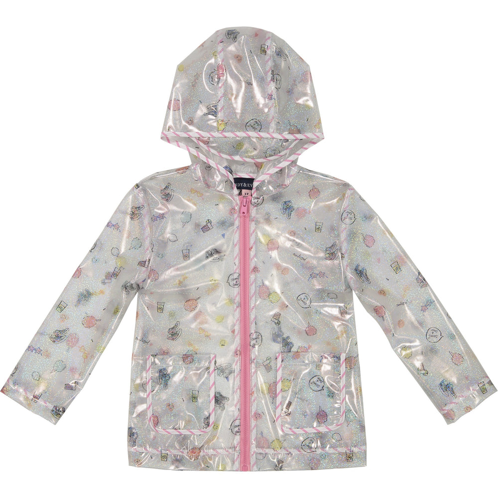 Girl's Glitter Dashed Rain Jacket - Andy & Evan