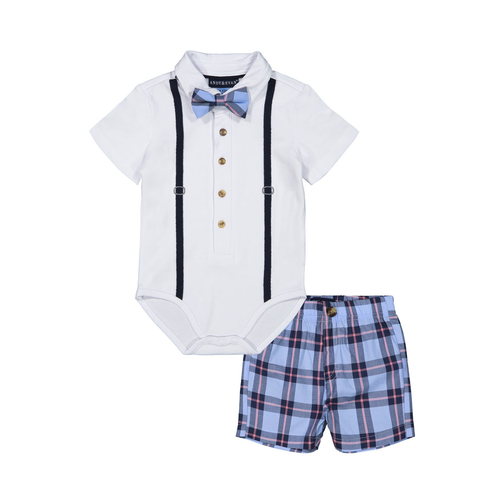 Baby Boys White Plaid Polo Shirtzie Set - Andy & Evan