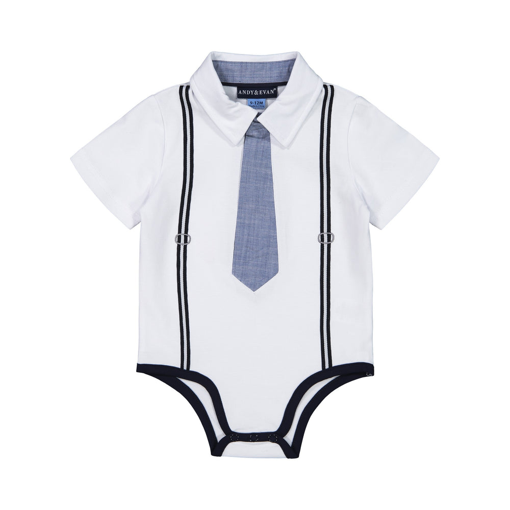 Baby Boys White Polo Shirtzie Set - Andy & Evan