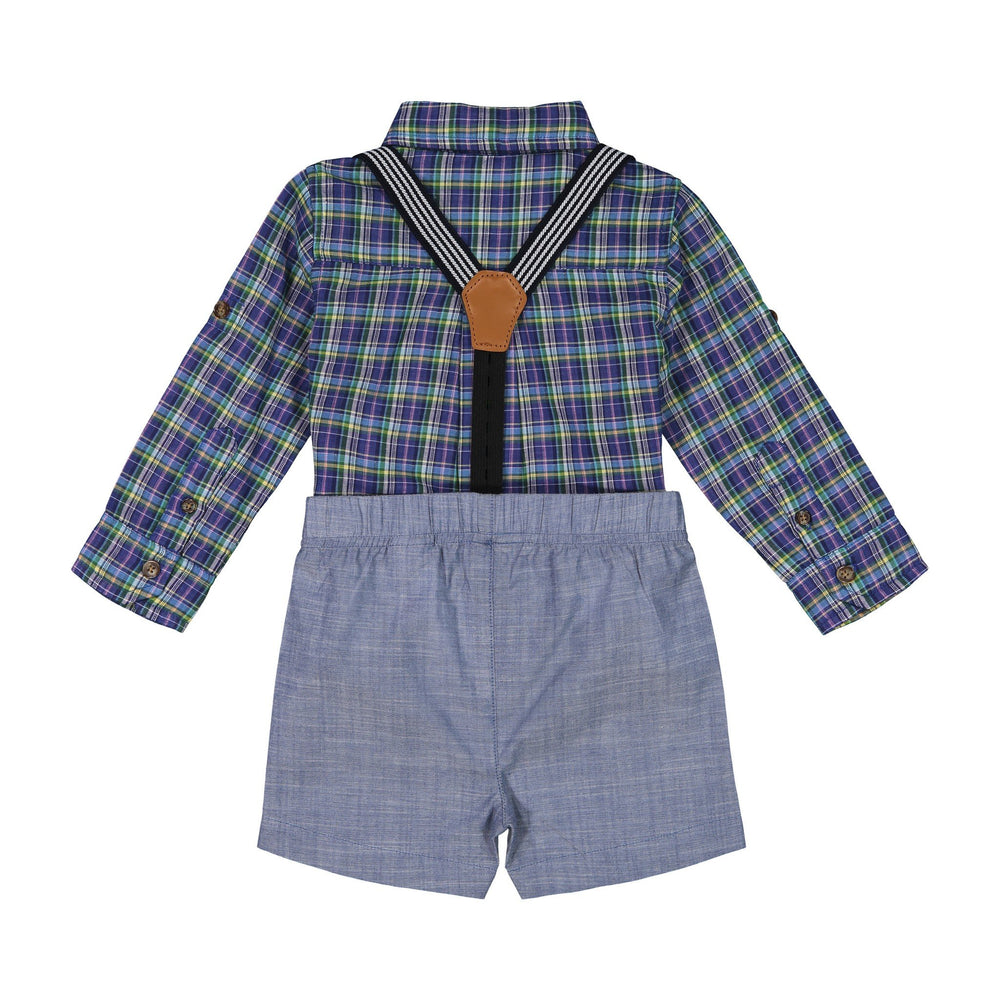 Baby Boys Blue Plaid Button Down Set - Andy & Evan