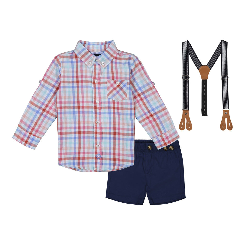 Baby Boys Orange Plaid Button Down Set - Andy & Evan