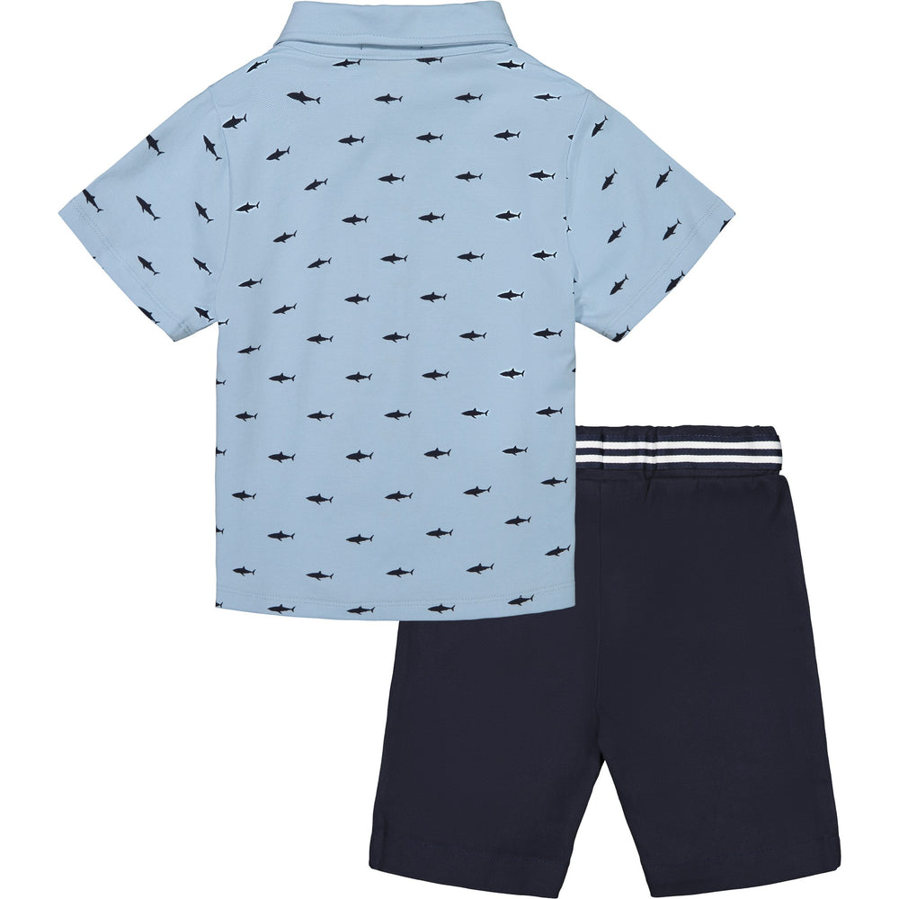 Baby Boys Blue Shark Knit Button Down Set - Andy & Evan