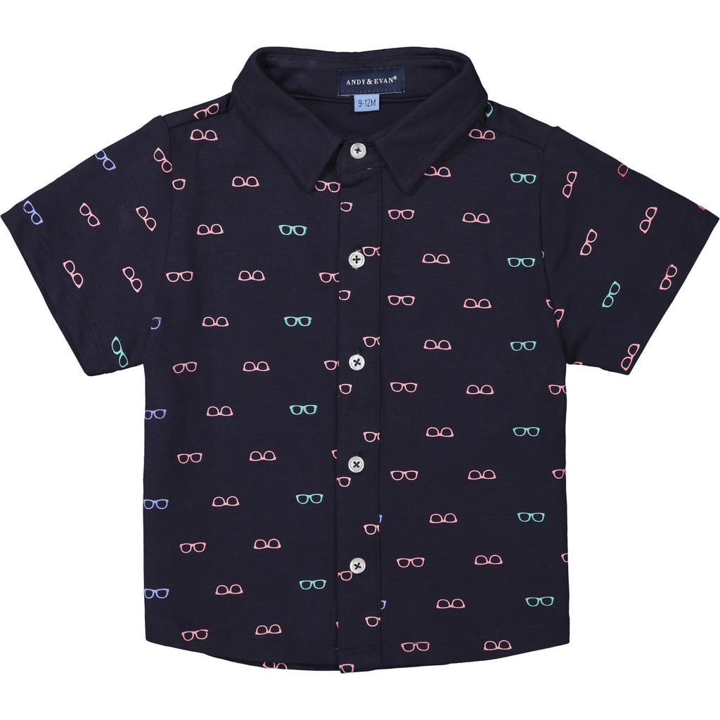 "Baby Boys Navy ""Shades"" Knit Button Down Set - Andy & Evan"