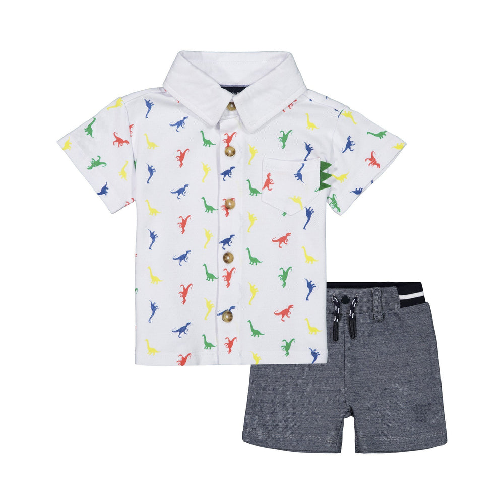 Baby Boys White Dino Printed Button Down Set - Andy & Evan