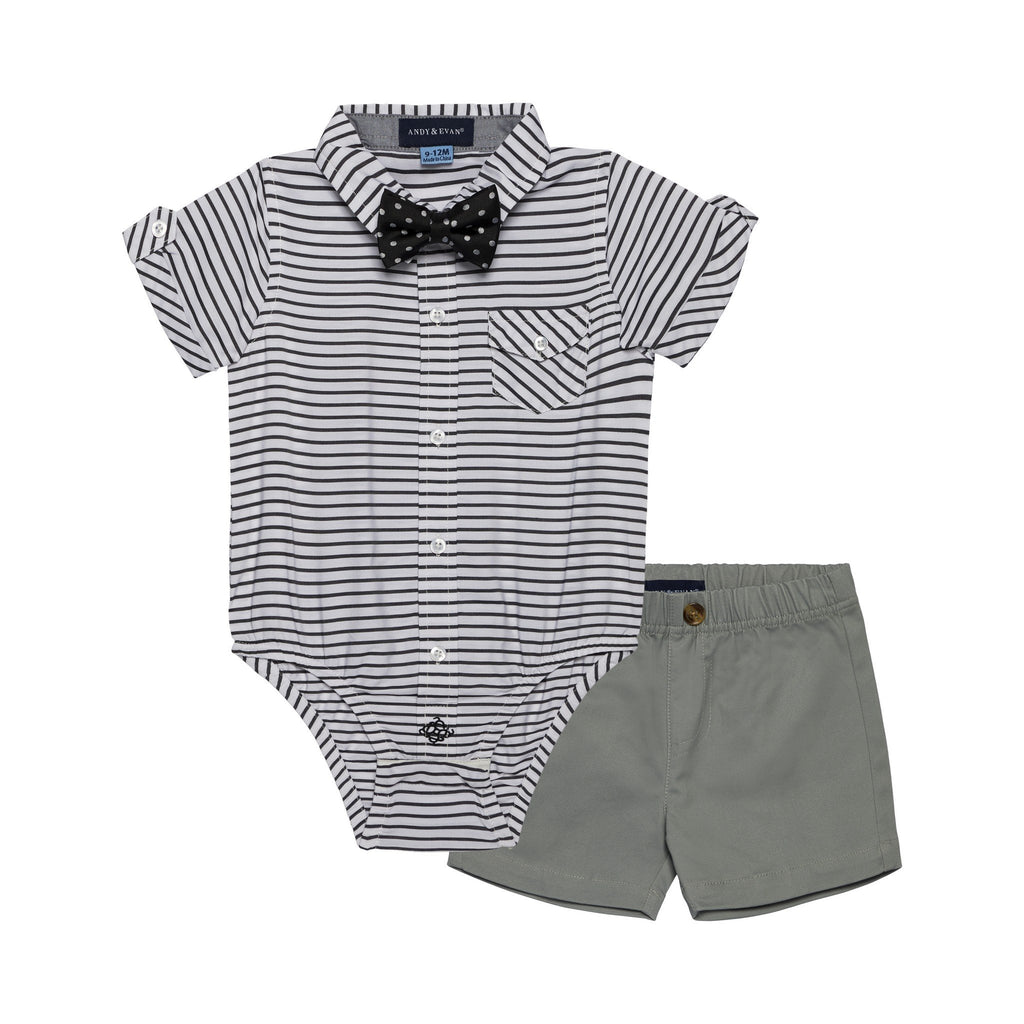 Baby Boys 3-Piece Black Striped Sunny Day Set - Andy & Evan
