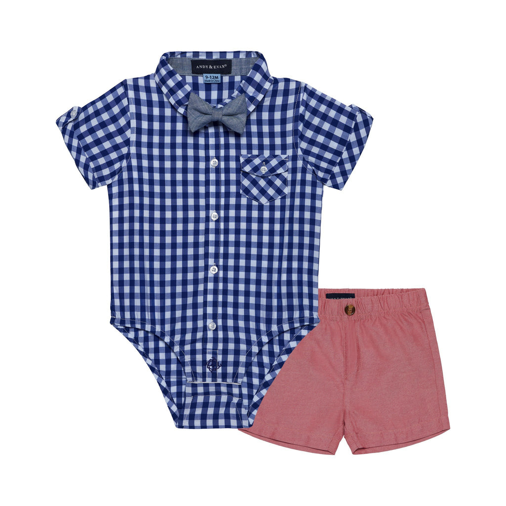 Baby Boys 3-Piece Gingham Shirt Sunny Day Set - Andy & Evan