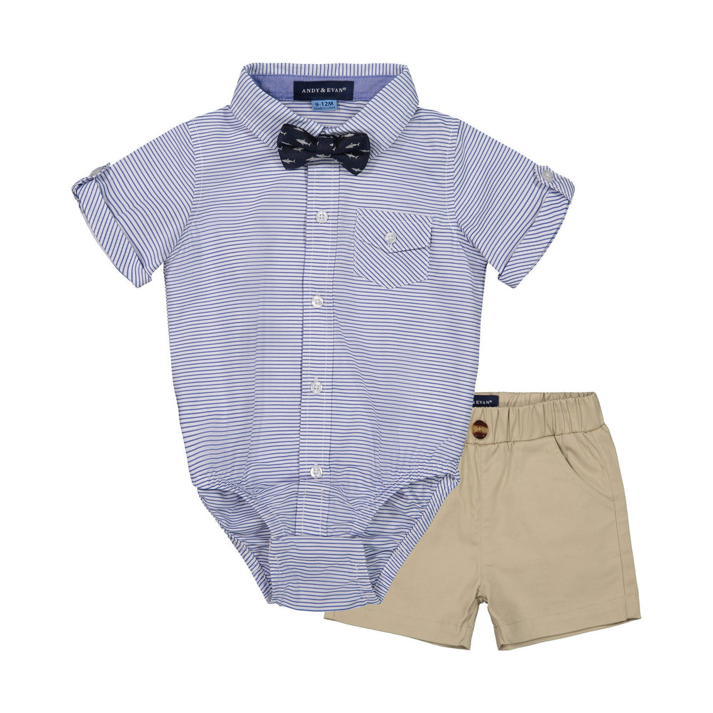 Baby Boys 3-Piece Blue Striped Shirt & Short Set - Andy & Evan
