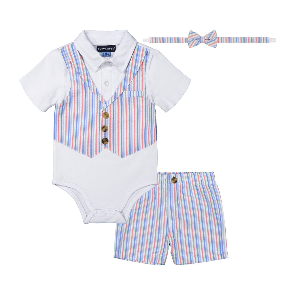 Baby Boys Multi-Seersucker Playsuit Set - Andy & Evan