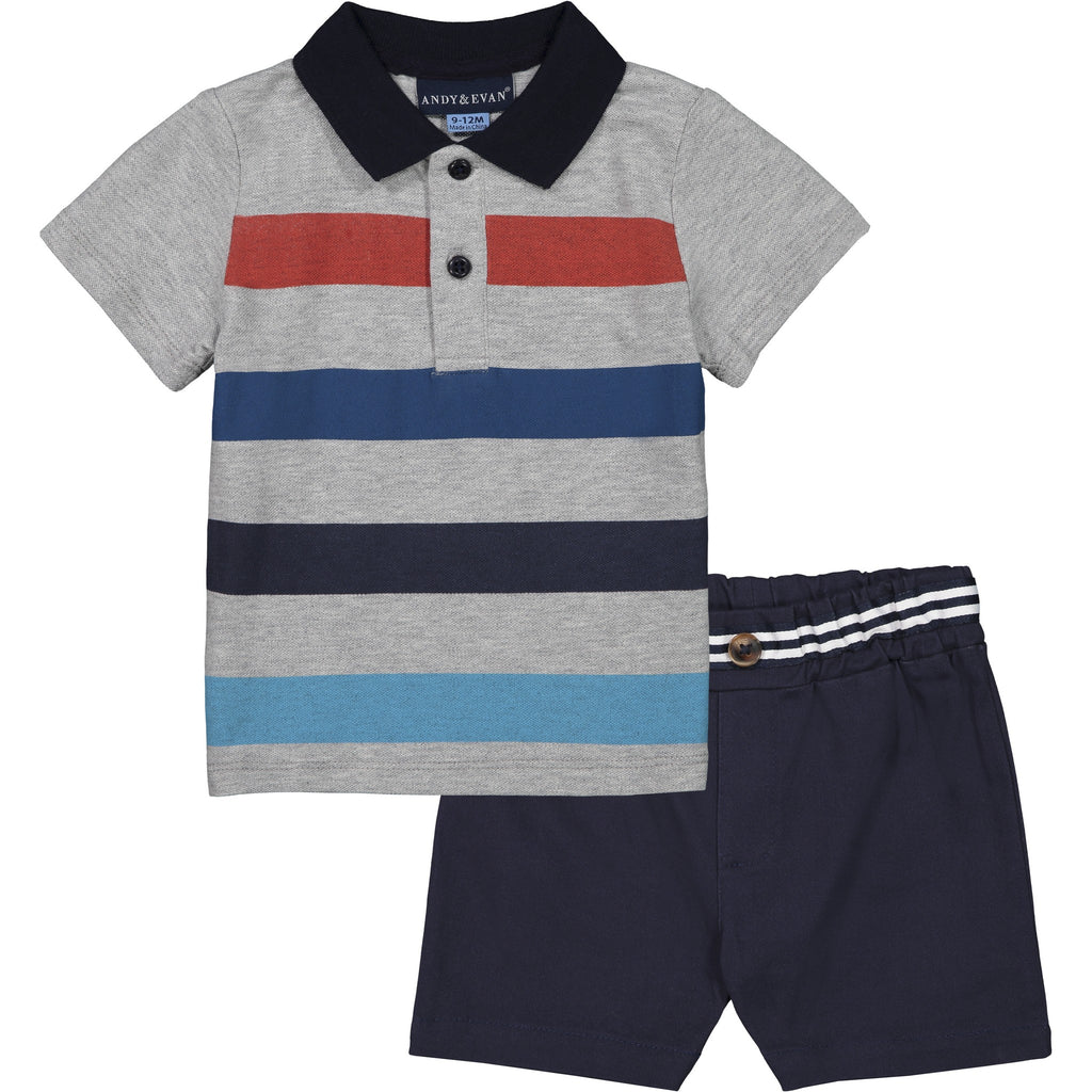 Baby Boys Striped Polo Set - Andy & Evan