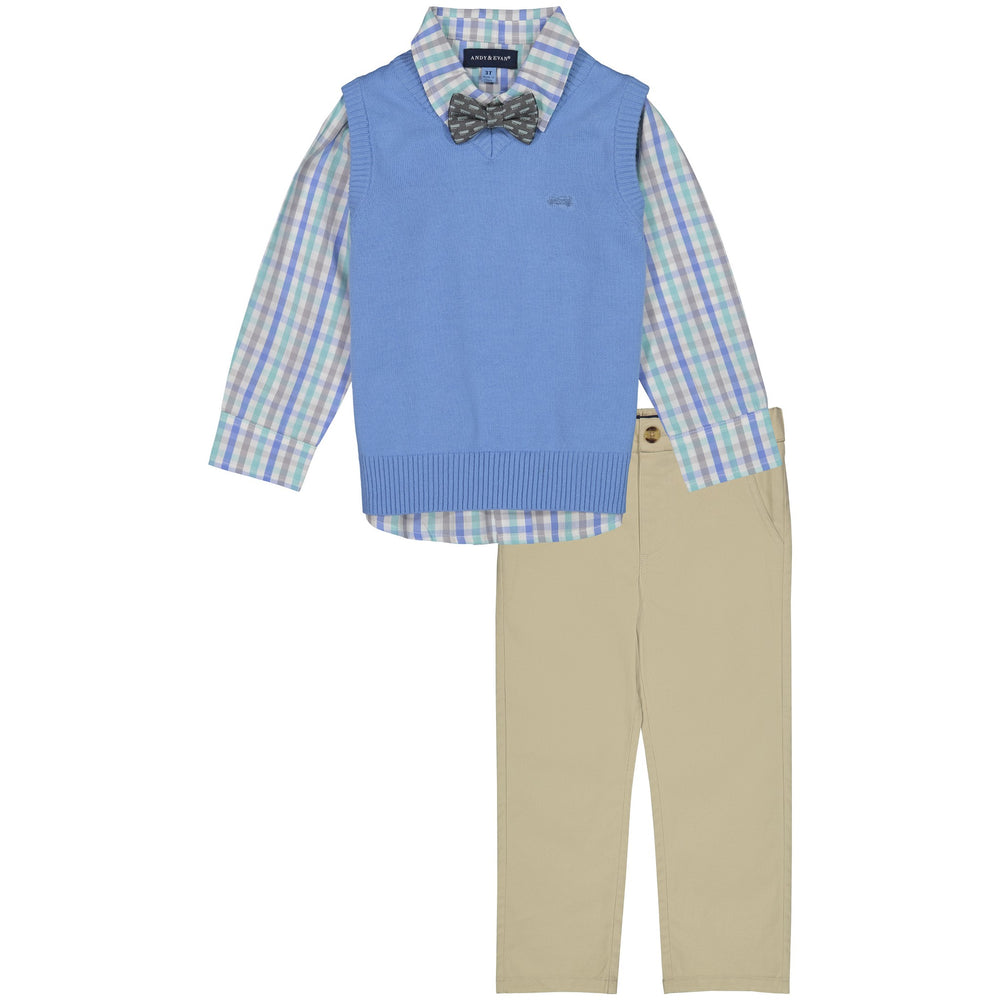 Baby Boys Light Blue Sweater Vest Set - Andy & Evan