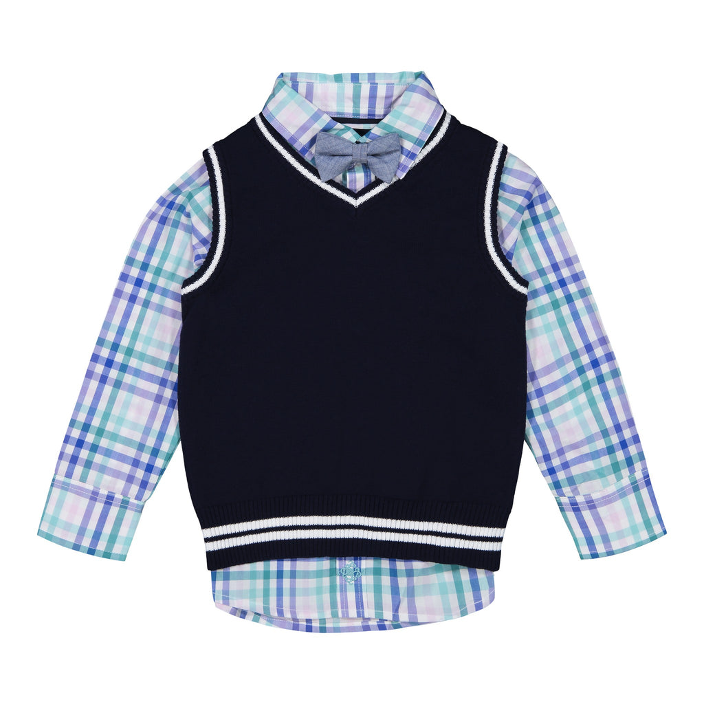 Boys Navy Sweater Vest Set - Andy & Evan