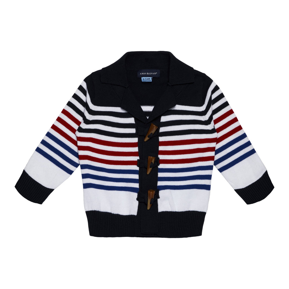 Boys Striped Varsity Toggle Sweater - Andy & Evan