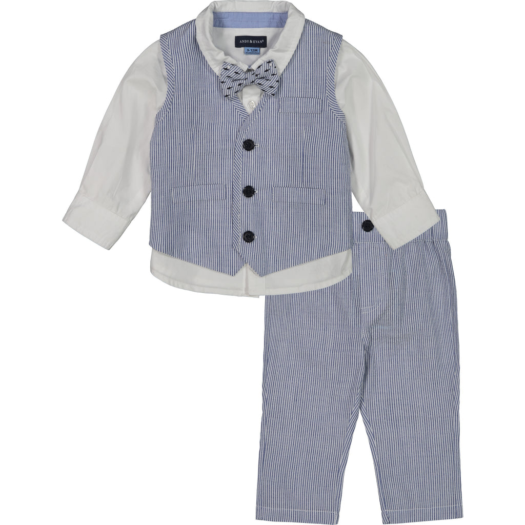 Baby Boys 3-Piece Blue Seersucker Vest Set - Andy & Evan