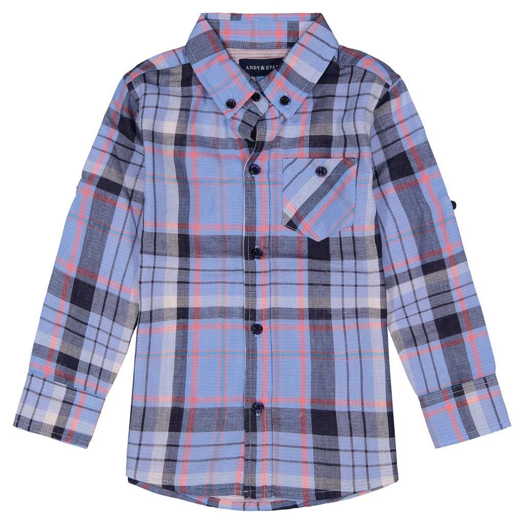 Boys Light Blue Plaid Button Down Shirt - Andy & Evan