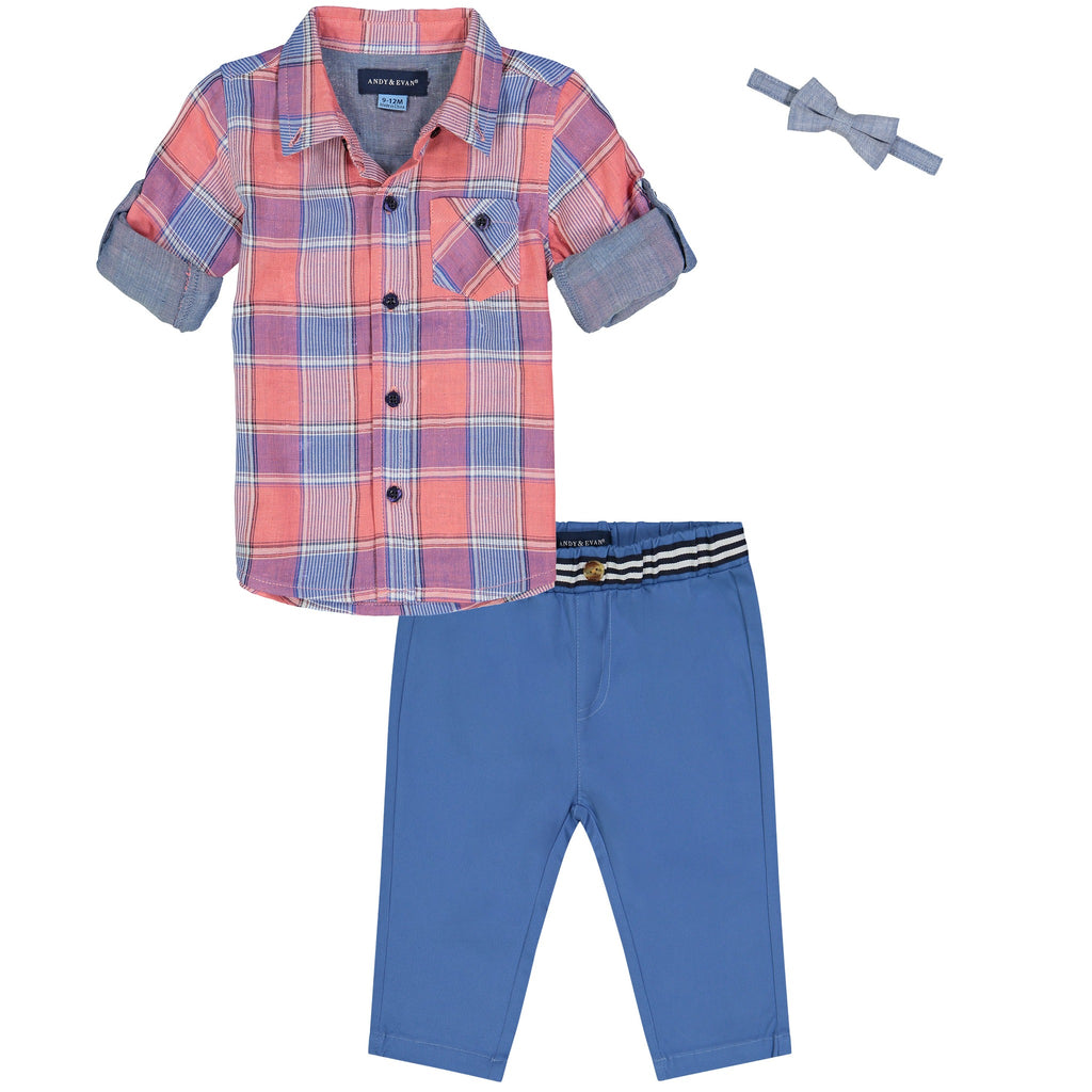 Boys Coral Check Button Down Shirt - Andy & Evan