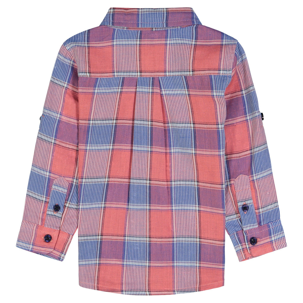 Infant Boys Coral Check Button Down Shirt Set - Andy & Evan