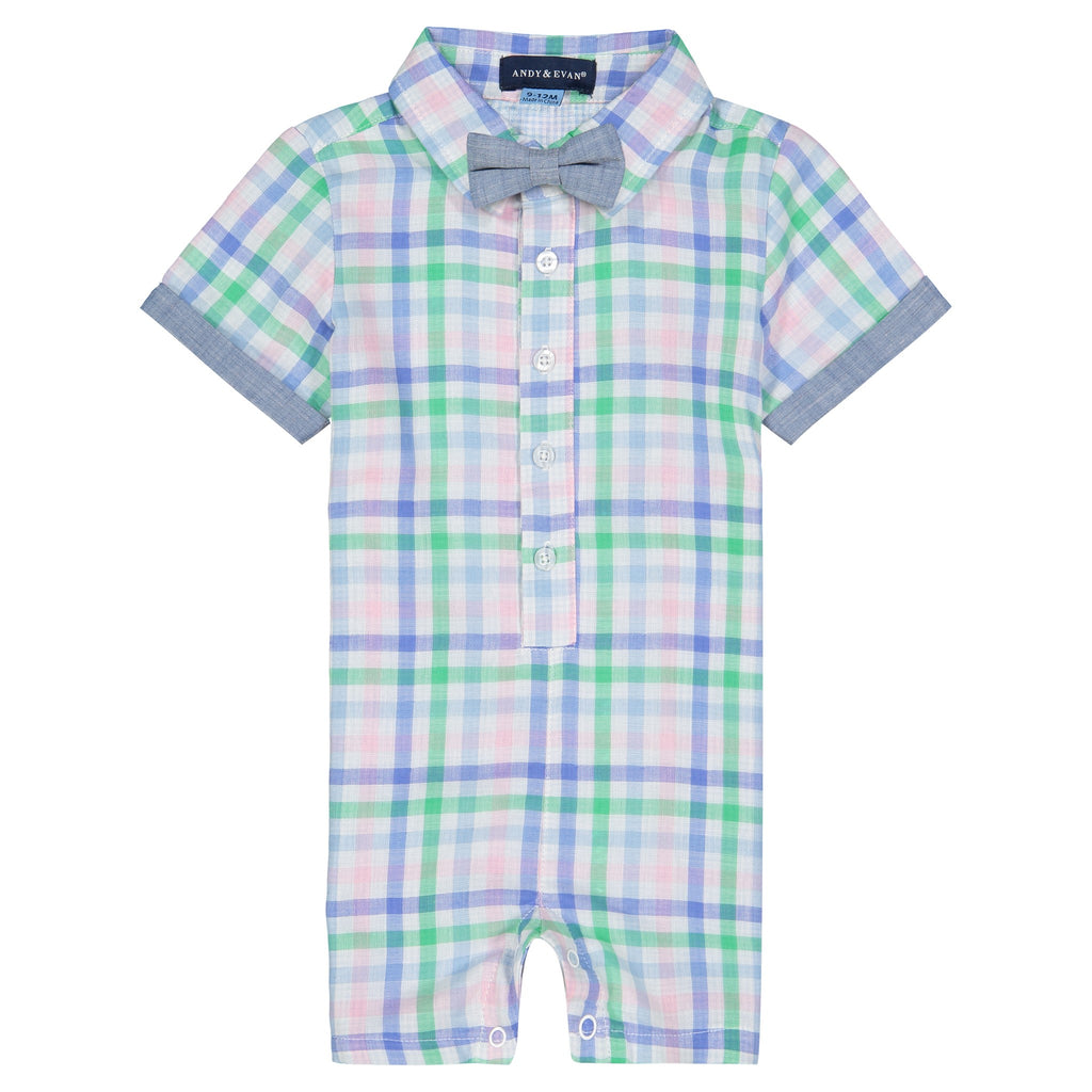 Infant Baby Boy Pastel Gingham Shirtall - Andy & Evan