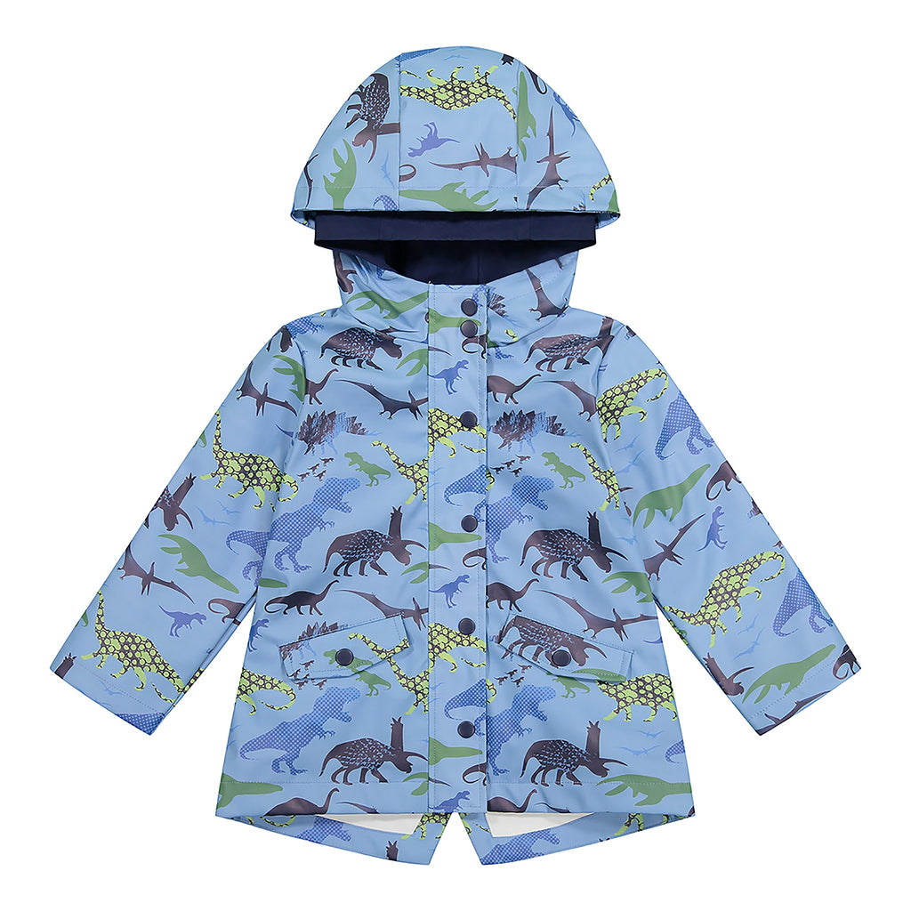 Boys Light Blue Dino Windbreaker Rain Coat - Andy & Evan