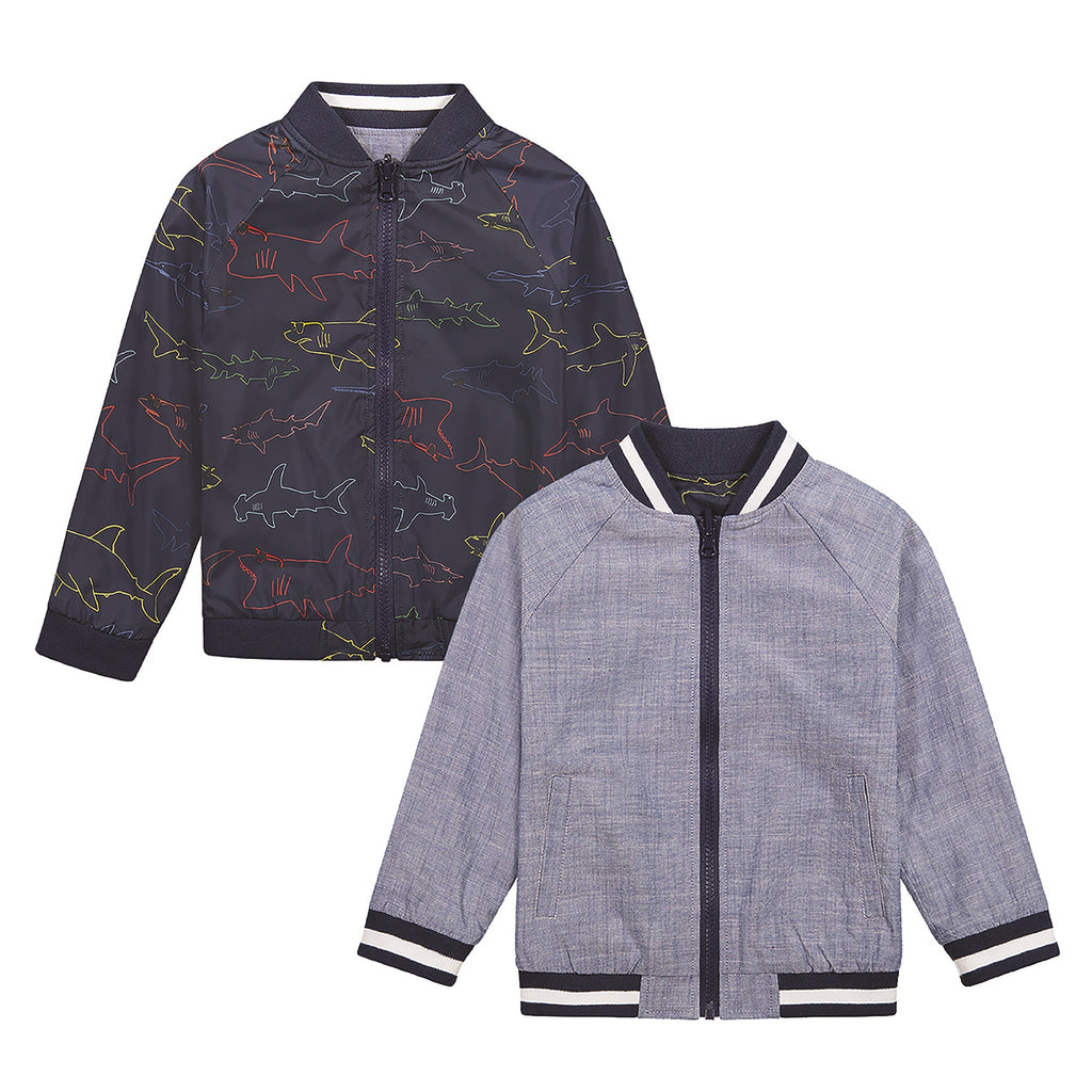 Boys Reversible Shark Bomber - Andy & Evan