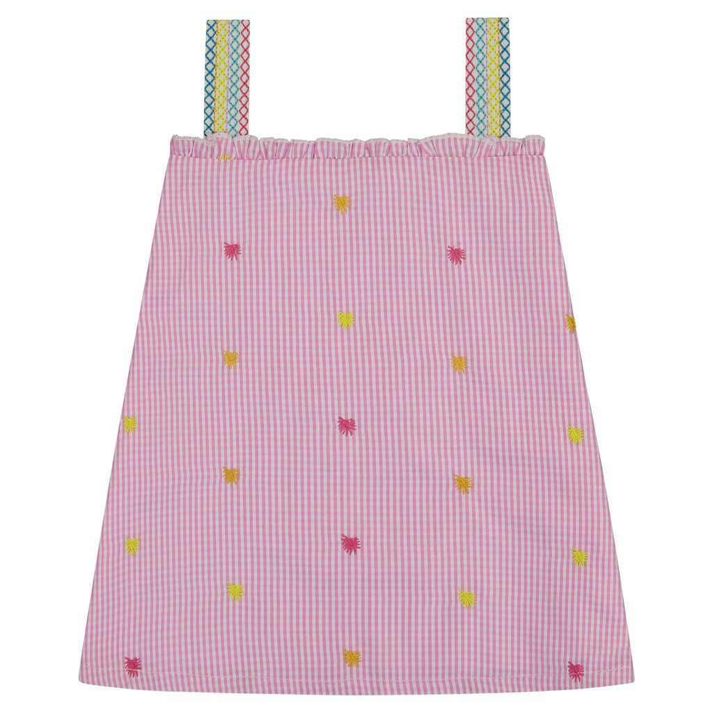 Girls Gingham Embroidered Dress - Andy & Evan