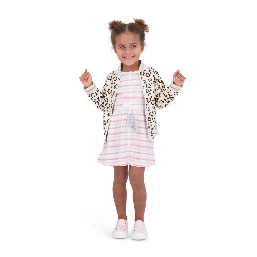 Girls Reversible Leopard Bomber - Andy & Evan