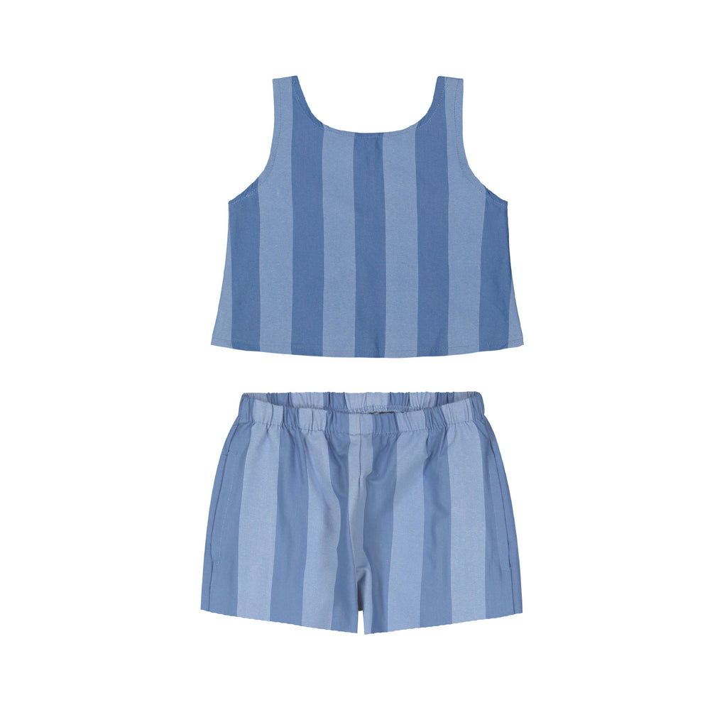 Striped Chambray Shorts Set - Andy & Evan