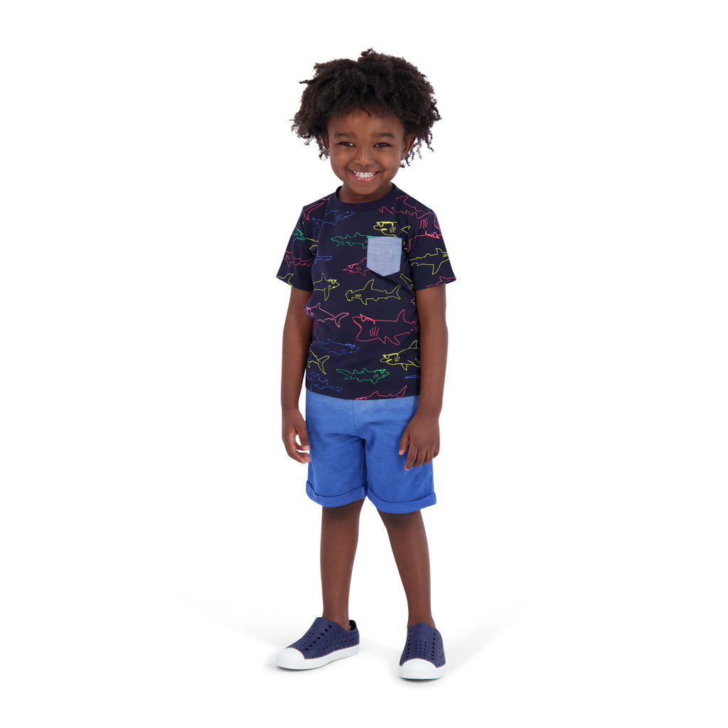 Infant Boys Navy Shark Tee Shirt Set - Andy & Evan
