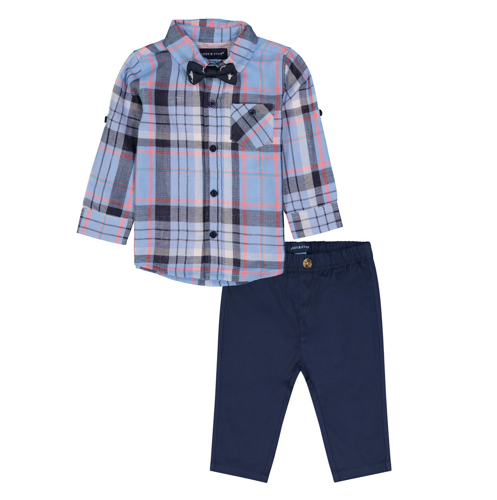 Infant Boys Light Blue Plaid Button Down Shirt 3-Piece Set - Andy & Evan