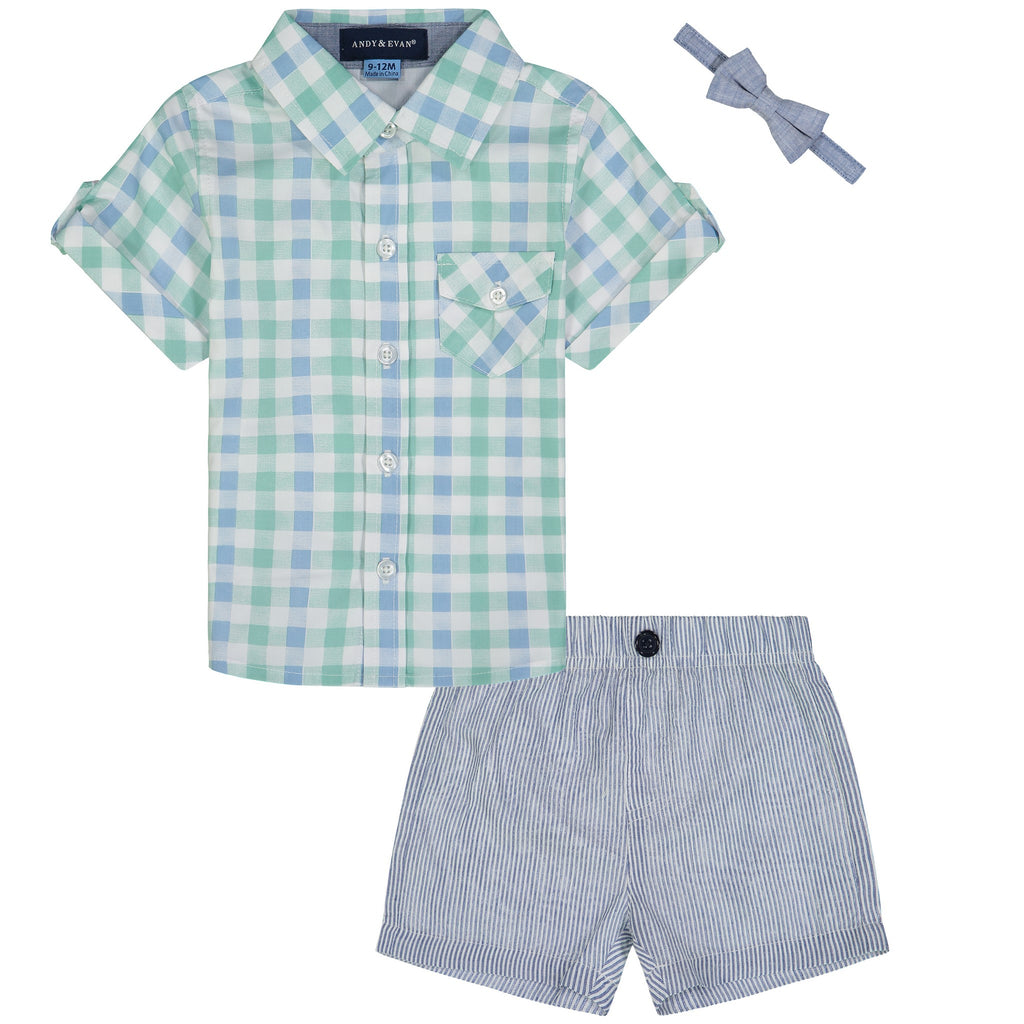 Infant Boys Mint Gingham Shorts Set - Andy & Evan