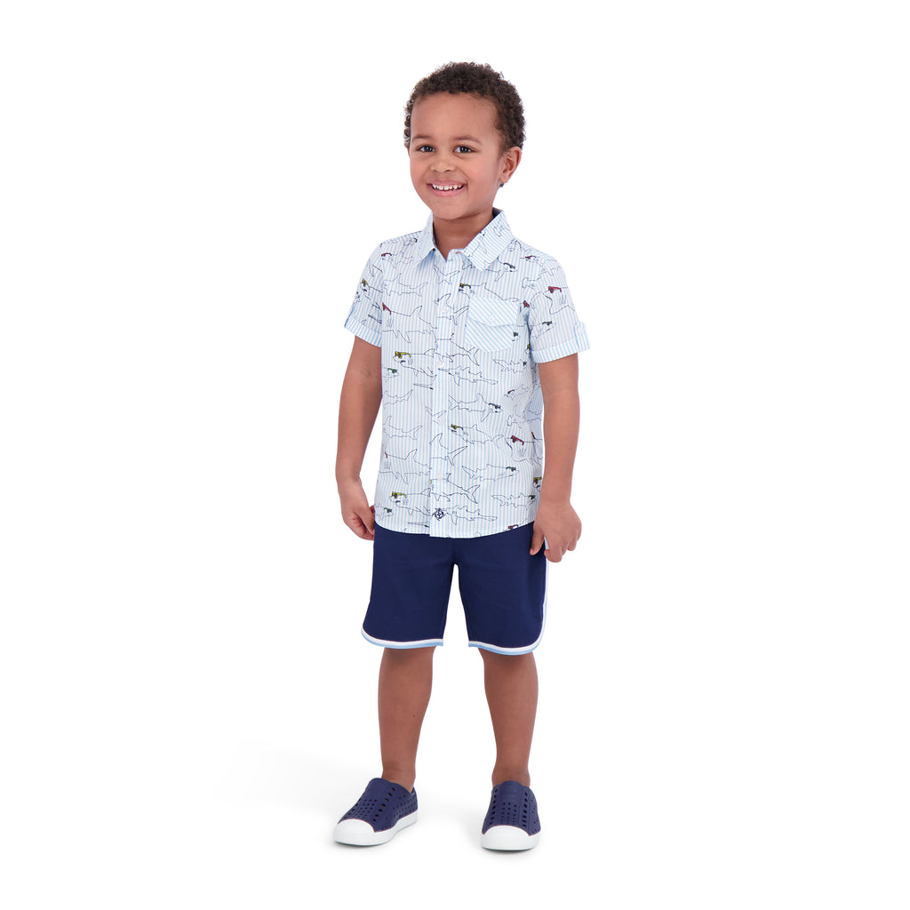 Boys Striped Shark Button Down Shirt - Andy & Evan