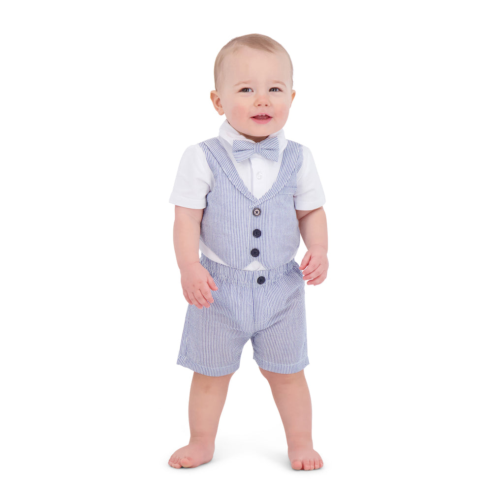 Baby Boys Seersucker Playsuit - Andy & Evan