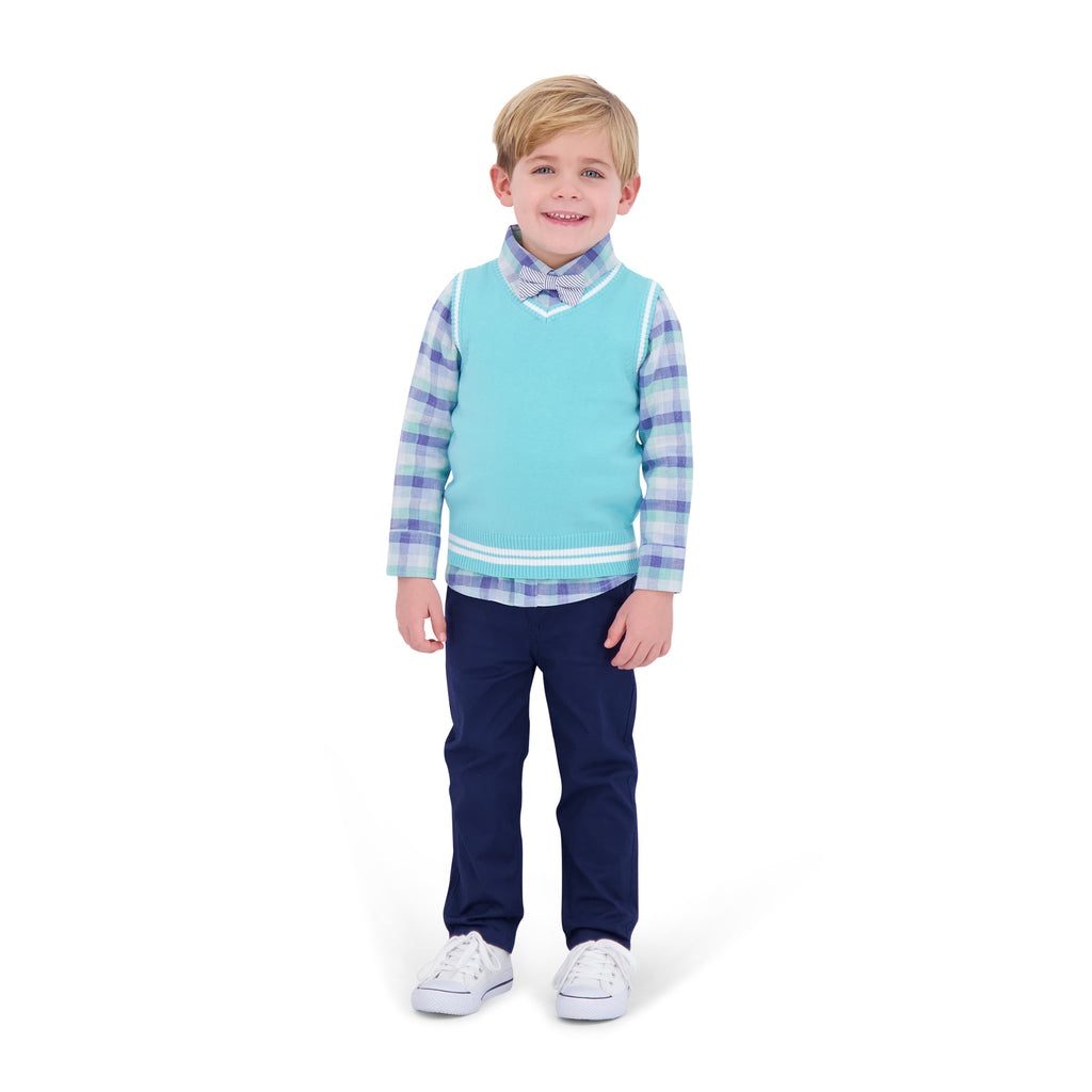 Infant Boys Mint Sweater Vest Set - Andy & Evan