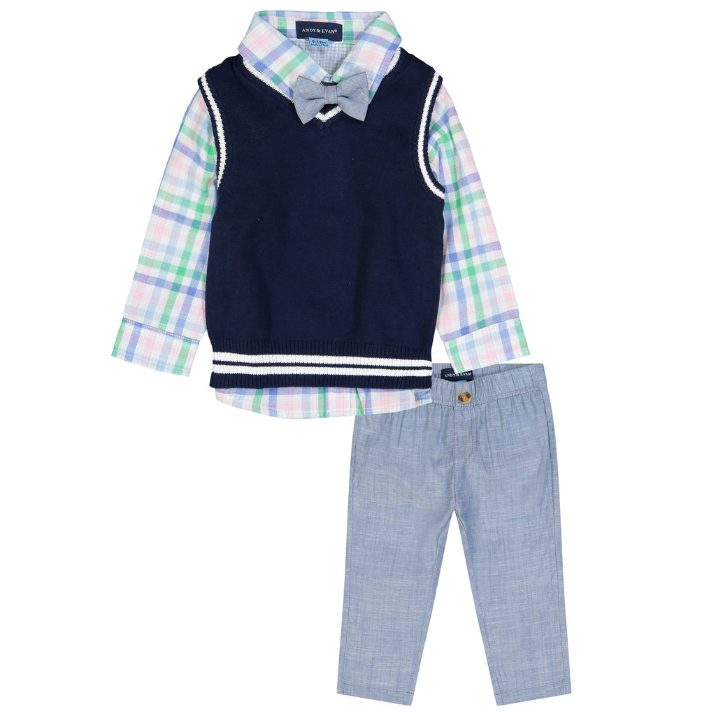Infant Boys Navy Sweater Vest Set - Andy & Evan
